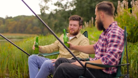 Thumbnail for Happy Friends Fishing and Drinking Beer on Lake