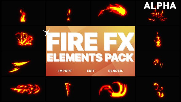 Thumbnail for Flash FX Fire Elements | Motion Graphics Pack