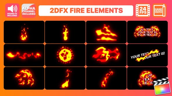 Thumbnail for Hand Drawn Fire Elements Pack | Final Cut Pro