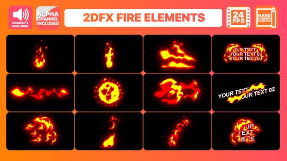 Thumbnail for Hand Drawn Fire Elements + Titles Pack | Premiere Pro MOGRT