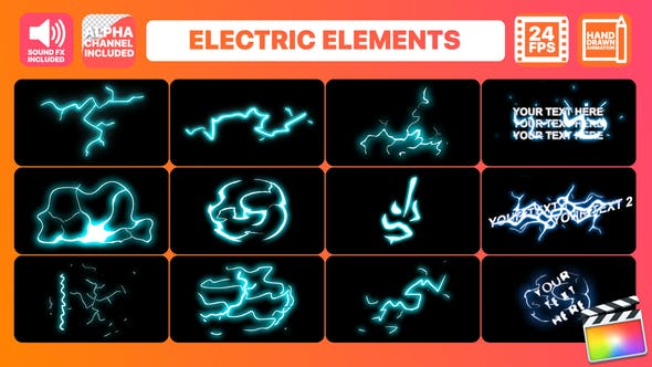 Thumbnail for Hand Drawn Electric Elements Pack | Final Cut Pro