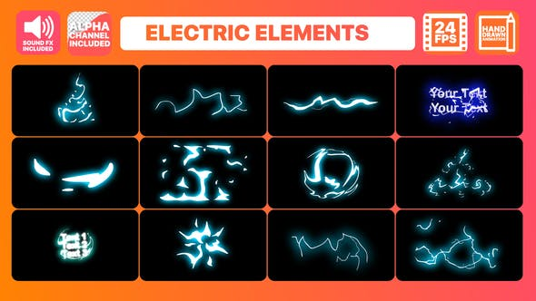 Thumbnail for Cartoon Electric Elements and Titles | Premiere Pro MOGRT