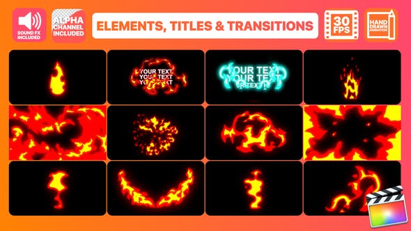 Thumbnail for Fire Elements Titles And Transitions | FCPX