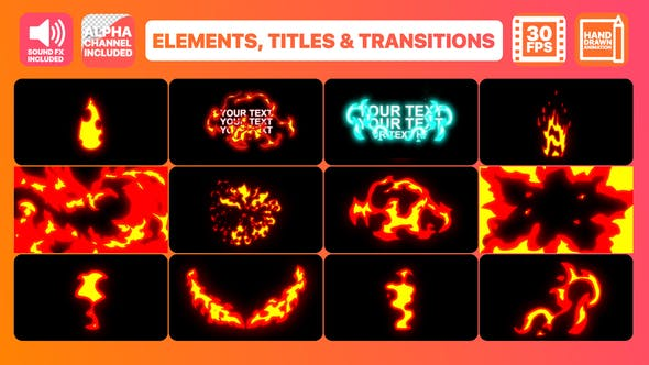 Thumbnail for Fire Elements Titles And Transitions | After Effects