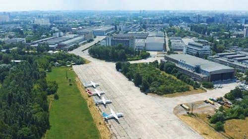 Soviet-era Antonov Aircraft Factory in Kiev. Museum Exhibits of Antonov Aircraft Near the Hangar