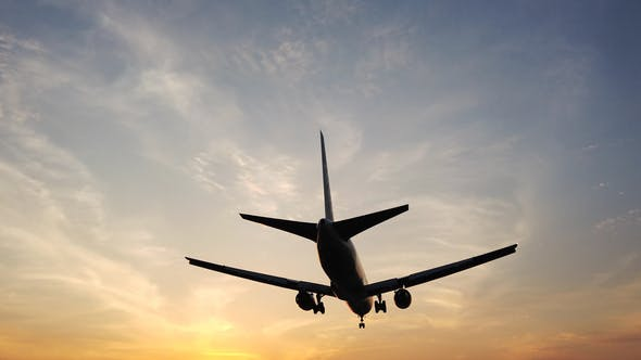 Thumbnail for Airplane Landing In Airport At Sunset