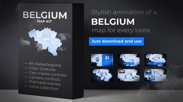 Thumbnail for Belgium Map - Kingdom of Belgium Map Kit