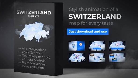 Thumbnail for Switzerland Map - Swiss Confederation Map Kit