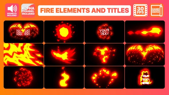 Thumbnail for Flame Elements And Titles | Premiere Pro Motion Graphics Template