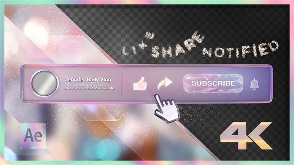 Cover Image for Youtube Subscribe Rainbow Glass Button