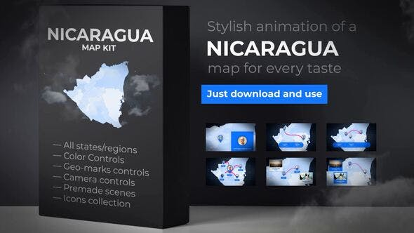 Thumbnail for Nicaragua Animated Map - Republic of Nicaragua Map Kit