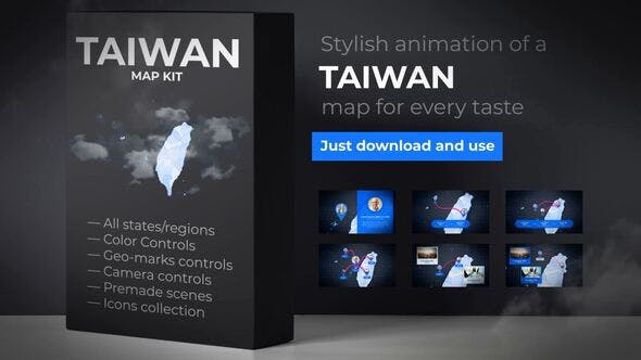 Thumbnail for Taiwan Animated Map - Republic of China ROC Map Kit