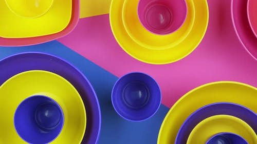 Pink blue Yellow colorful plastic water bowls futuristic color design