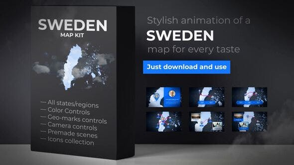 Thumbnail for Sweden Animated Map - Kingdom of Sweden Map Kit