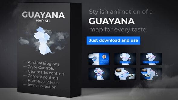 Thumbnail for Guyana Animated Map - Co-operative Republic of Guyana Map Kit