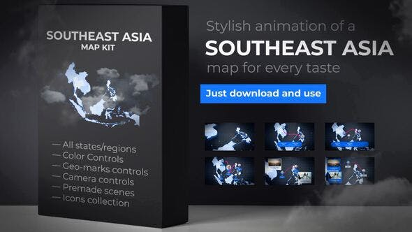 Thumbnail for Southeast Asia Animated Map - Southeastern Asia Map Kit