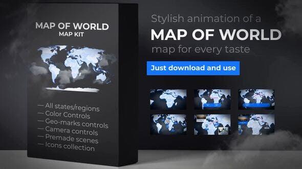 Mapa del Mundo con Países - Mapa Animado
