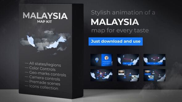 Thumbnail for Malaysia Animated Map - Malaysia Map Kit