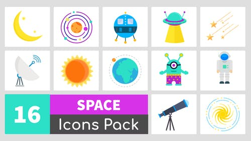 Paquete de 16 Íconos del espacio animado