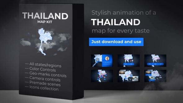 Thumbnail for Thailand Animated Map - Kingdom of Thailand Map Kit