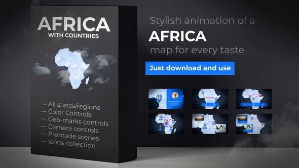 Cover Image for Africa Animated Map - Africa Map Kit