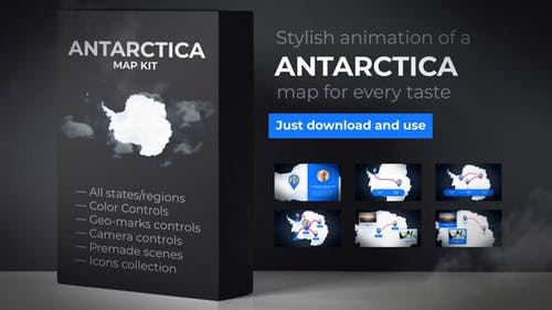 Map of Antarctica with Territories - Antarctica Map Kit