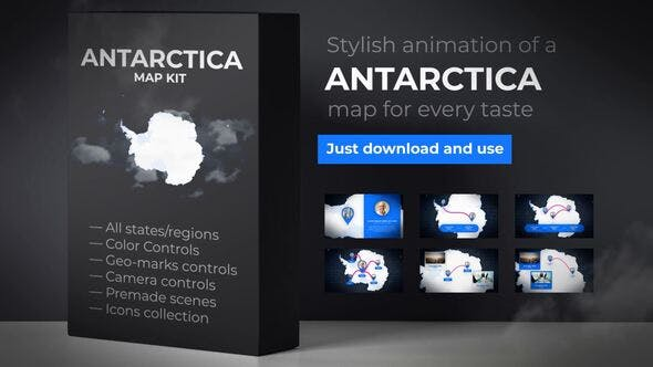 Thumbnail for Map of Antarctica with Territories - Antarctica Map Kit