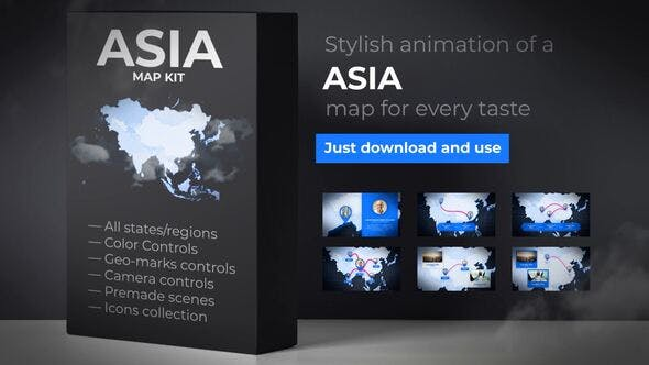 Thumbnail for Map of Asia with Countries - Asia Map Kit