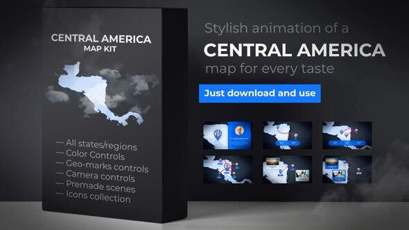Thumbnail for Map of Central America with Countries - Central America Islands Map Kit
