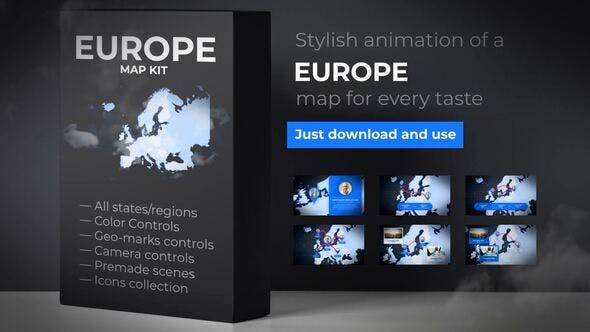 Thumbnail for Map of Europe with Countries - Europe Map Kit