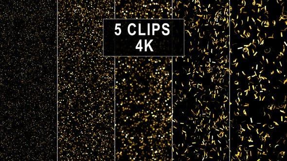High Dense Golden Confetti Backgrounds - 5 Variations - 4K