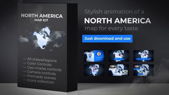 Thumbnail for Map of North America with Countries - North America Map Kit