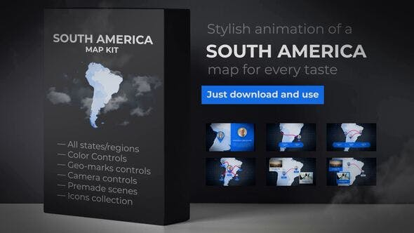 Thumbnail for Map of South America with Countries - Southern America Map Kit