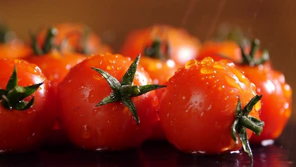 Thumbnail for Beautiful Red Tomatoes With Drops of Water Macro Video, Raw Organic Vegetables Food Fresh Tomato