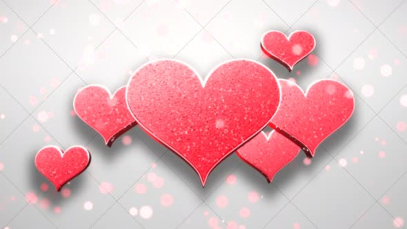 Thumbnail for Animation closeup motion romantic hearts on Valentine's day shiny background
