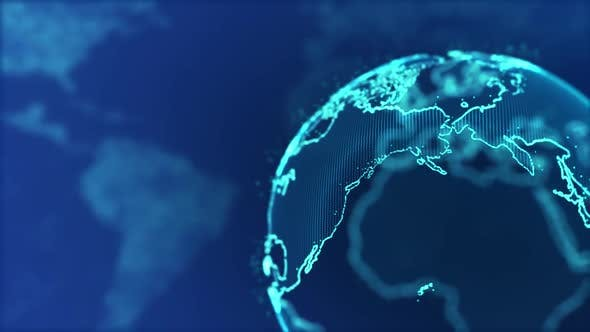 News background particle blue with alpha Earth globe world map technology  universe High Tech