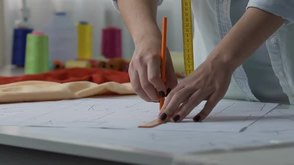Thumbnail for Experienced Woman Designer Making Patterns, Textile Industry, Tailoring Work