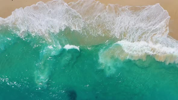 Thumbnail for Coast and Waves as A Background from Top View. Turquoise Water Background from Top Drone.