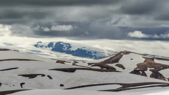 Thumbnail for Dramatic Clouds Moving over Winter Volcanic Mountains of Katla in Iceland