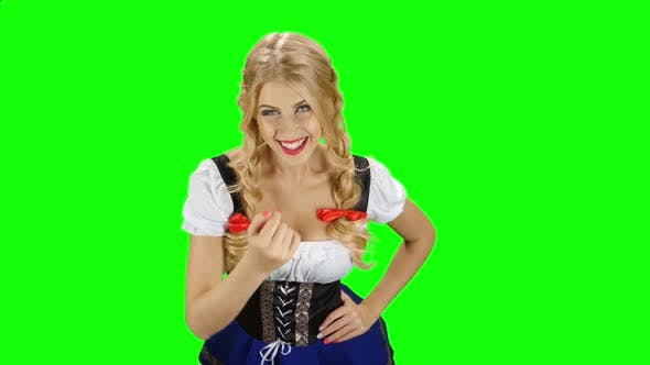 Thumbnail for Girl in Bavarian Costume Seductive Beckoning By Finger To Herself. Green Screen