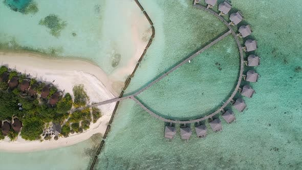 Thumbnail for Aerial view of amazing bungalow resort, Maldives island.