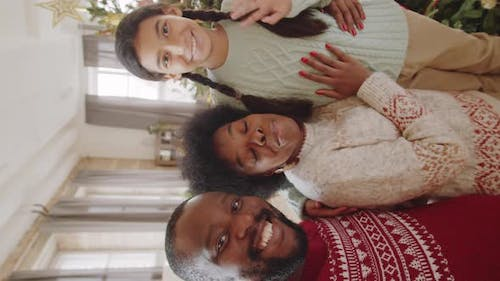 Afro Family Speaking on Video Call on Christmas at Home