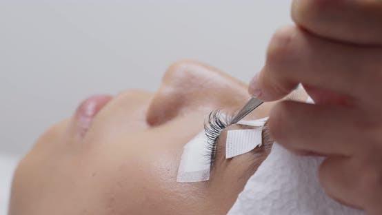 Woman eye with long eyelashes, eyelash extension