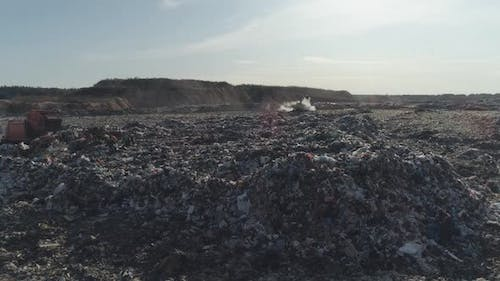 Garbage Dump Aerial View of the Garbage and Waste Storage Environmental Pollution View From a Height