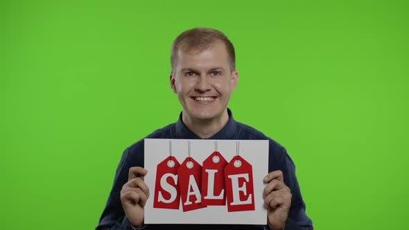 Thumbnail for Excited Happy Man Showing Sale Word Advertisement Inscription. Black Friday Concept. Chroma Key