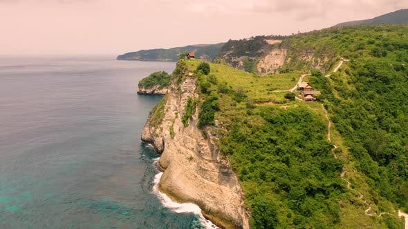 Thumbnail for Aerial view of Thousand Islands Viewpoint cliff, Indonesia.