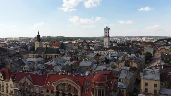 Thumbnail for The Center of Lviv City Ukraine on a Cloudy Day