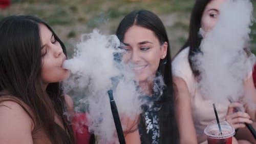 European Girls Are Having Fun and Smoking Hookas