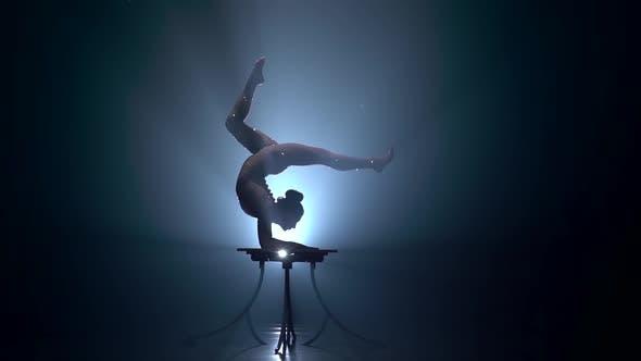 Thumbnail for Acrobat Girl Executes Tricks, Smoke Background, Slow Motion,Silhouette