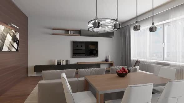 Thumbnail for 3D circled the interior of the living room in a modern style